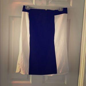 WHBM white & black lined pencil skirt